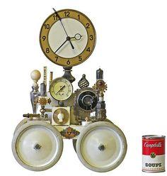 Roger b wood klockwerks no 5097 steampunk mantle clock 1 via etsy assemblage - Steampunk mantle clock ...