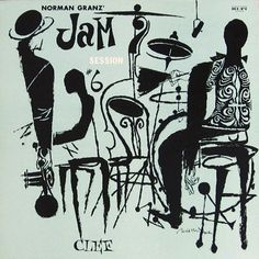 "Various Artists: Jam Session, vol. 6   Label: Clef 656   12"" LP 1955  Design: David Stone Martin"