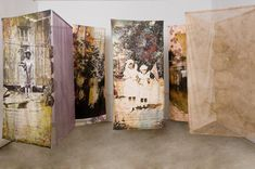 """Vignettes of a Family"". Leslie Pearson. Digitally collaged photographs on cotton muslin, hand embroidered and machine stitched, dyed silk organza, stiffened yarn. 2011"