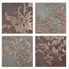 Damask Relief Blocks: 20 X 20 Wall Art, Set Of Four Uttermost Wall Art Wall Art Home Decor