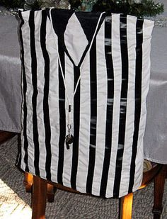 Looking for a fun football craft or party idea? Make chair covers that look like a referee's shirt with a pillow case and black electrical tape or duct tape