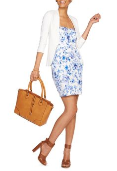 Margot Strapless Dress - JustFab Different way of dressing up a simple blue dress