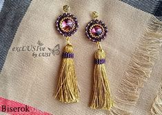 Fashion earrings with tassels their Rukmi, twining Rivoli 14 mm, tapestry weaving, simple scheme, intuitive master class for beginners