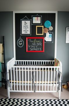 Chalkboard wall behind crib - #nurserydesign #chalkboardwall