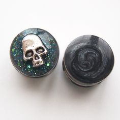 "Marble-ized Galaxy Skull 19mm 3/4"" Reversible Steel Plugs by Glamsquared"