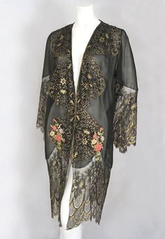 French chiffon peignoir trimmed with metallic lace and silk ribbon flowers, c.1925. from the Vintage Textile archives.