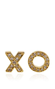 So cute for Valentine's Day -JENNIFER MEYER 18K Yellow Gold and Diamond XO Stud Earrings