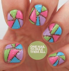 color nail, girls nails, mosaics, nail designs, colors, nail arts, short nails, glitter, stained glass