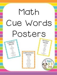 Use these math cue words posters to teach your students about the different way word problems can be worded. Concepts included are: Addition, Subtraction, Multiplication and Division in six colour choices (blue, green, pink, purple, orange, yellow). ($1.50)