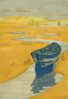 18571922, lost boat, arthur wesley dow, boats, derelict, paint, 1916, dow american, color woodcut