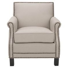 Nailhead-trimmed linen club chair with a birch wood frame.