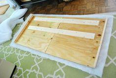 The Headboard Adventures, fabric and plywood  headboard