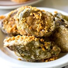 Fried Eggplant A quick and easy side dish - Eggplant coated in a flavorful egg wash and flash fried to golden crisp!