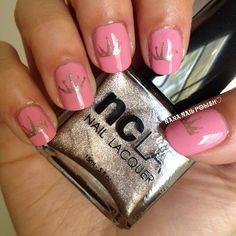 Princess Design using @shopncla Like…Totally Valley Girl, Bel Air Trophy Wife and MASH plates 19/49 #nailart #nailcall #ncla #mani #nailpolish #princess #crowns #nails (Taken with Instagram)