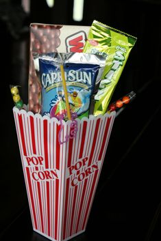Drive-In slumber party movie snack idea! Cute idea for the movie preview or welcome baskets  -date night invitation. Cute!