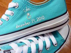 Cute idea. honeymoon, wedding shoes, embroid convers, weddings, tiffany blue, wedding photos, something blue, bride, big day
