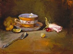 Cup of Tea by Christine Hooker Oil ~ 8 x 10
