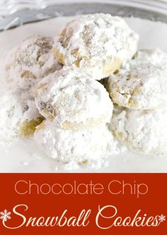 "Snowball cookies are the perfect ""Cookie exchange"" cookie. They are light and each one of these have mini chocolate chips to add some chocolate flavor! www.pintsizedtrea..."