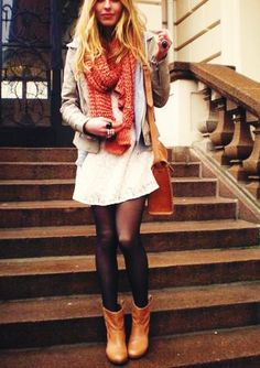 Wear dresses from summer into fall by adding tights, boots, and a scarf.