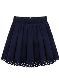 Dark Blue Pleated Skirt//