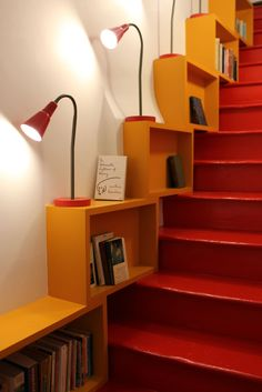 Shelves on stairs