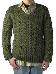 """Ben"" Cable Knit Sweater   AllFreeKnitting.com"
