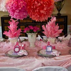 nanci parti, birthday parties, feather centerpiec, fanci nanci, birthday themes, nanci birthday, centerpiec option, parti idea, pink parties