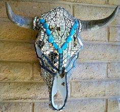 Turquoise Mirror Glass Steer Skull by glassmagic on Etsy, $1150.00