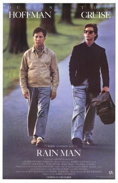 """Rain Man"" (1988) directed by Barry Levinson, starring  Dustin Hoffman, Tom Cruise / highest grossing film in 1988"