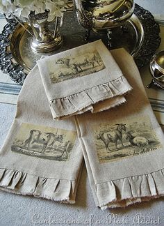 Make charming linen tea towels with this tutorial.  AND 45 BEST FRENCH Spring Party, Crafts & Decor Tutorials EVER with their LINKS!!! GIFT, PARTY, EVENT, SPRING, WEDDING DECOR. Blog & Photos from MrsPollyRogers.com