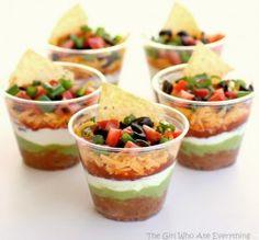 Easy Appetizer - Individual 7 layer dip cups cup, taco dip, fiesta party, party dips, layer dip, bean dip, football foods, parti, dip recipes
