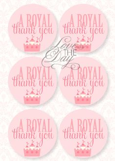 princess party thank you tags