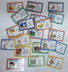 Illustrated Suffix Cards with definitions and examples $