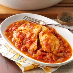 "Savory Tomato-Braised Tilapia...this was good served with spaghetti but not sure it's our ""type"" of fish dish."