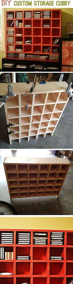 Build a custom storage cubby unit for your craft supplies, DVDs or other organizational needs.