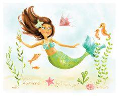 Watercolor Print - Mermaid/Deep Sea Cutie (8x10) - nursery art for children on Etsy, $12.00