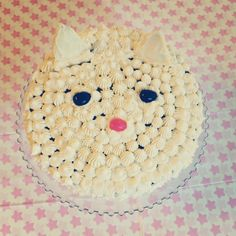 """Kitty Cat Cake for my daughter's 3rd birthday :) Made with """"The Best One-Bowl Yellow Cake"""" recipe from cinnamonspiceandeverythingnice.com, and good ol' classic buttercream frosting, AKA: 3 sticks softened butter, a few cups powdered sugar and a tad of vanilla, whipped up for some sweet goodness."""
