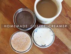 Easy and delicious - Homemade Coffee Creamer 3 ways, nutella, honey-vanilla, and cinnamon-sugar #coffee #recipe #nutella