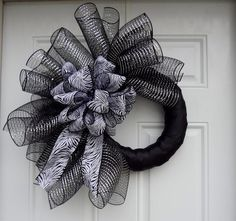 Black Metallic  Silver Elegant Zebra Print Mesh Wreath. craft, print mesh, eleg zebra, black metal, decor mesh, mesh idea, mesh wreaths, zebra print, halloween