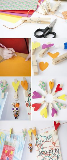 Felt hearts on clothespins. So cute for hanging kids art.