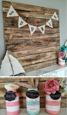 Stripes and mason jars -- how cute! Check out this nautical summer mantle :)