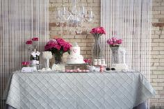 fuchsia, pink, white and silver with some crystals dessert