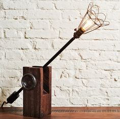 Restored And Re-Imagined Factory Lights For A Chic Contemporary Table Lamp