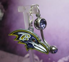 Team Belly Button Ring  Baltimore Ravens by joolrylane on Etsy, $28.00