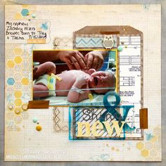 That is a great title for a newborn ......Shiny  New #newborn #baby #scrapbook #layout #page #title