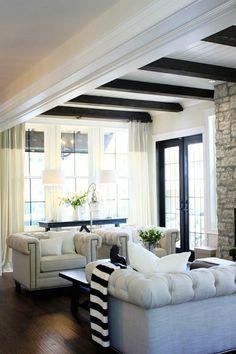 farmhouse chic, living rooms, exposed beams, black doors, jillian harri, ceiling beams, live room, stone fireplaces, wood beams