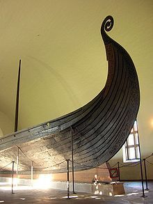 The Oseberg ship prow, Viking Ship Museum, Oslo, Norway.