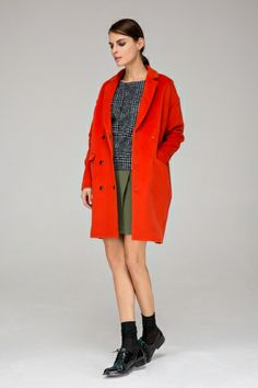 Cocoon coat with double-breasted button - FrontRowShop