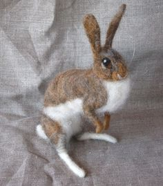 Cotton Tail Rabbit - needle felted animal by Ainigmati