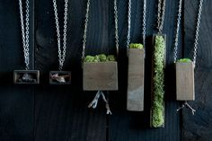 Love these moss and wood necklaces.